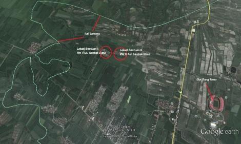 Lokasi bantuan banjir Tambak Dono